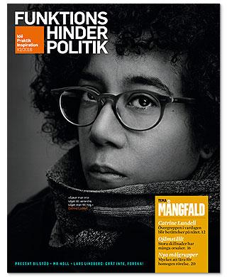 Omslaget till nummer 2/2016. Svartvitt prosträtt av Catrine Lundell . Hon har glasögon och en ganska stor halsduk.