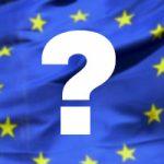 Ett frågetecken ovanpå en EU-flagga