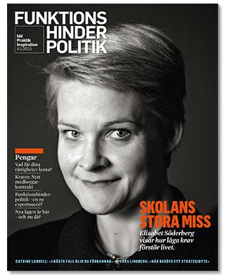 Omslaget till Funktionshinderpolitik 1-2015. Elisabet Söderberg fotograferad av Marc Femenia