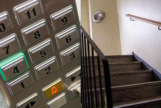 Kollage: en bild på knappar i en hiss och en bild på en trappa i ett 50-talshus.