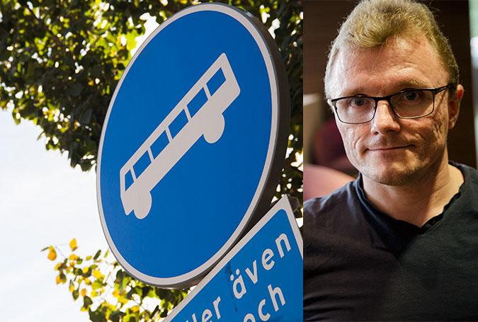Kollage av en bild med en trafikskylt för busskörfält och en annan med ett porträtt av Lars Göran Wadén i klädd svart t-shirt.