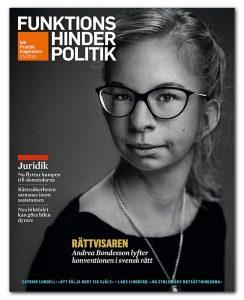 Omslaget till Funktionshinderpolitik 5/2016 pryds av en porträtt bild av Andrea Bondesson.