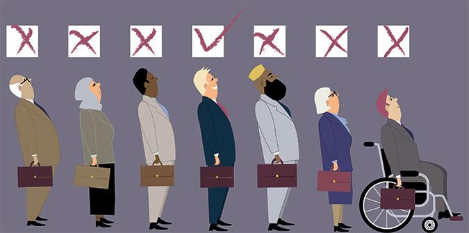 Illustration: sju personer med olika utseende men med var sin portfölj står på rad. Ovaför deras huvuden finns rutor där bara den vita mannen utan funktionsnedsättning får en markering för godkänt.