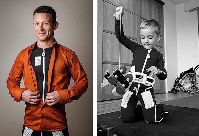Montage Johan Seltborg och en bild med ett barn som leker i klädd Mollii