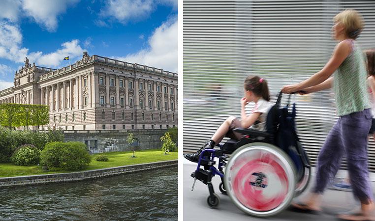 Montage: En bild av riksdagshuset och en av ett barn i rullstol som körs av en vuxen kvinna.