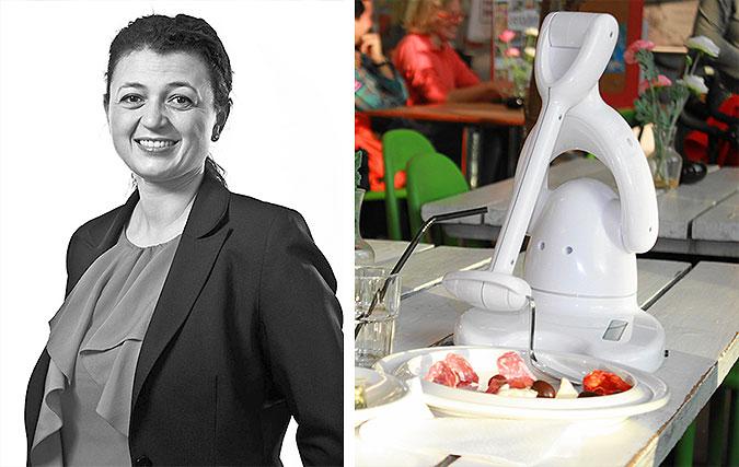 Montage av två foton. Ett halvkroppsporträtt av Catharina Borgenstierna och en bild där ätroboten Bestic står på ett bord med mat.