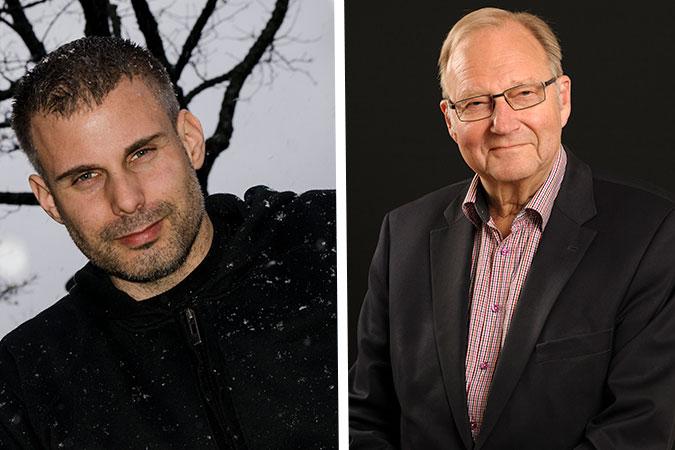 Kollage av porträtt på Rasmus Isaksson och Stig nyman