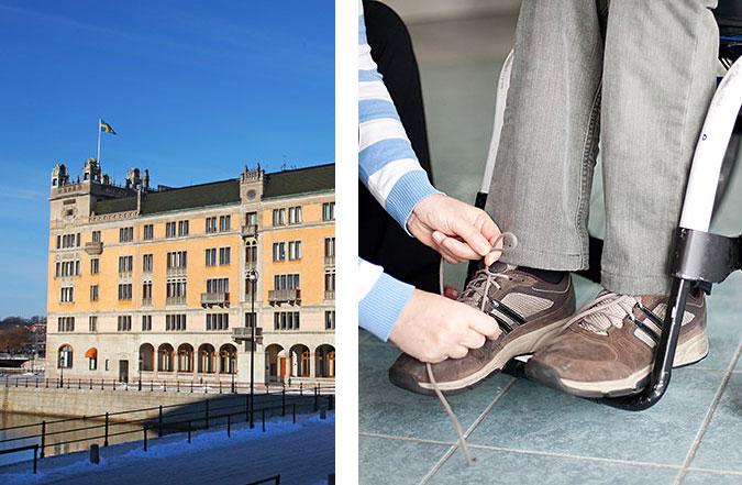 Kollage av två bilder. En bild på huset rosenbad och en där en person knyter skosnören för en annan som sitter i rullstol.