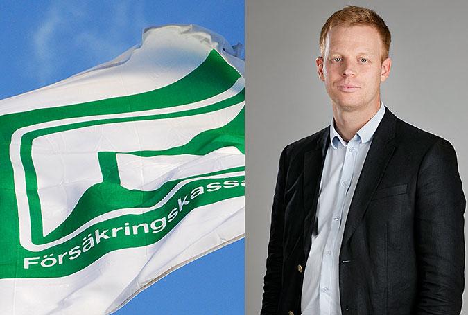 Montage av två bilder. På den ena syns försäkringskassans flagga vaja mot en blå himmel. På den andra står Andreas Larsson.