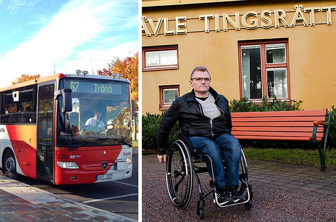 Kollage av två bilder. En på en buss från X-trafik och en av Lars-GÖran Wadén utanför tingsrätten.