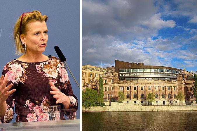 Kollage: En bild där Åsa Regner prata i en mikrofon och en bild av riksdagshuset