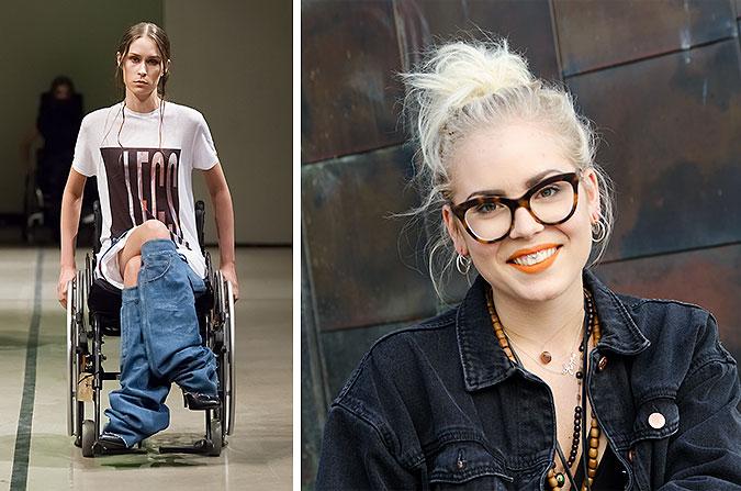 Kollage av två bilder. En visar en modell i rullstol som bär ett par jeans som bara täcker underbenen. Den andra är ett porträtt av Louise Linderoth.