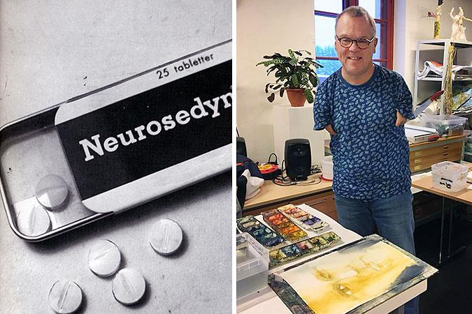 Ett kollage mellan två bilda där den ena är ett svartvitt foto av en ask med neurosedyntabletter och den andra föreställer Peter Sundström i en målarstudio där man ser att han har väldigt korta armar.
