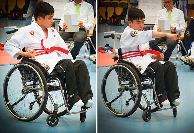 Ett kollage av två bilder på en man som sittande i rullstol gör en Kata.